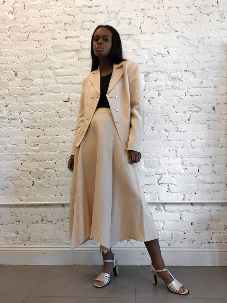 Linen-Silk Skirt Suit
