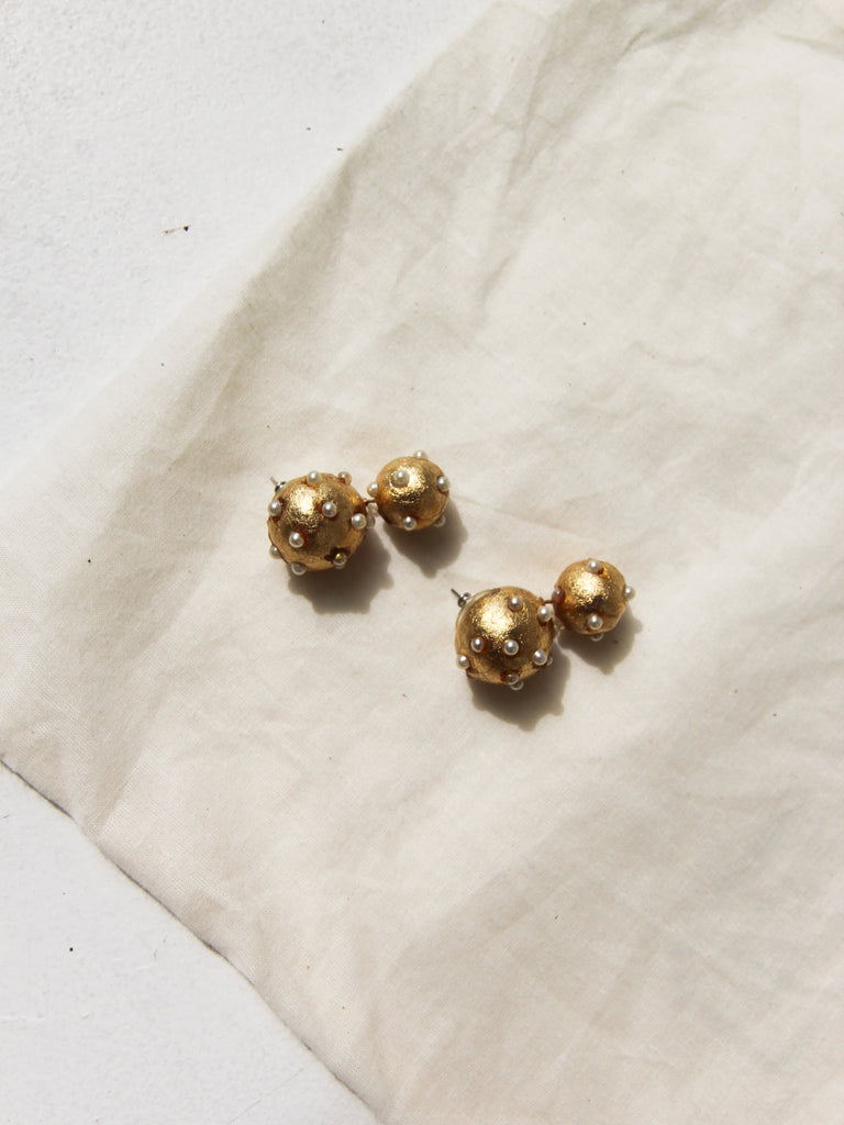Pearl Encrusted Costume Earrings