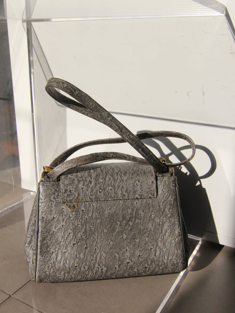 Grey Twist Lock Handbag