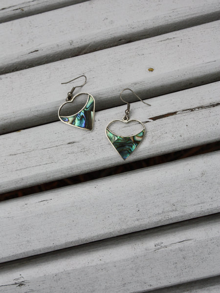 Abalone Heart Earrings