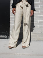 Ecru Pinstriped Pants