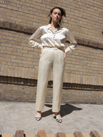 Cream Matte Silk Pants