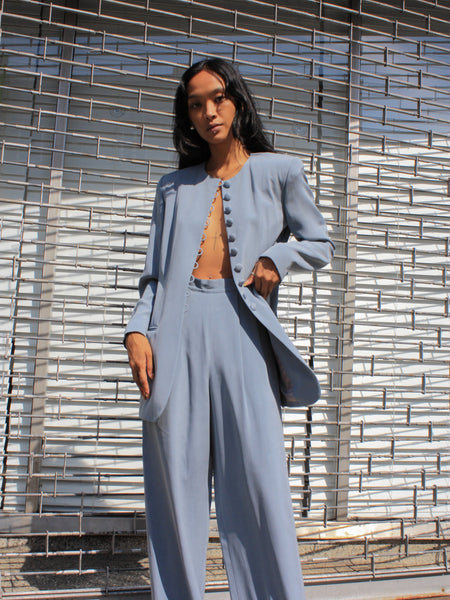 Blue Silk Suit