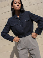 Navy Cropped Jacket