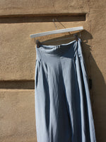 Tapered Blue Silk Pants