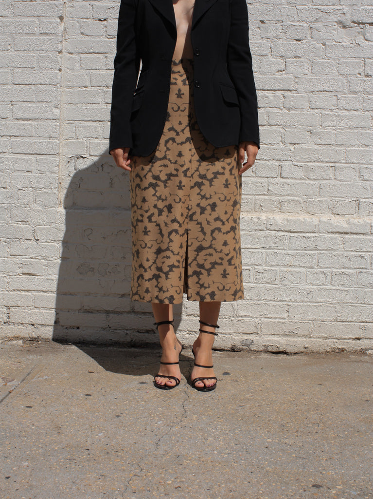 Patterned Wool Pencil Skirt