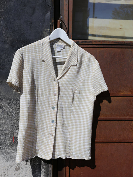 Neutral Gingham Blouse