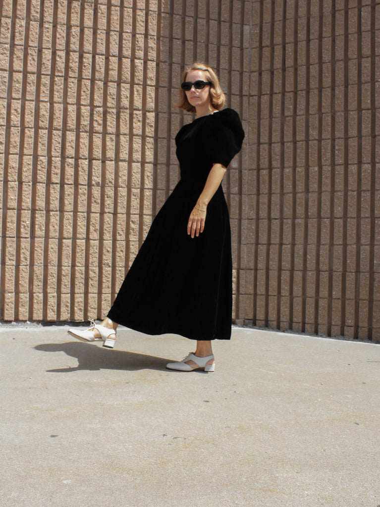 Puff Sleeve Velvet Dress