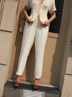 DKNY Cream Wool Trousers