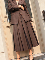Pleated Wool Skirt Set