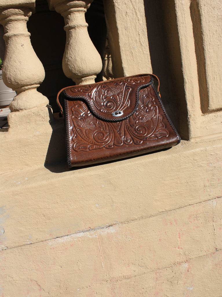 Oversized Tooled Leather Purse