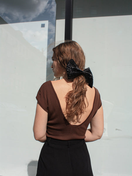 Oversized Straw Bow Clip