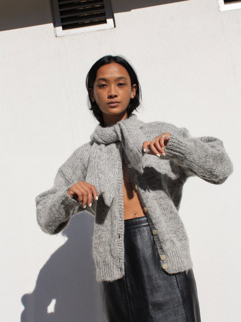 Silver Mohair Cardigan