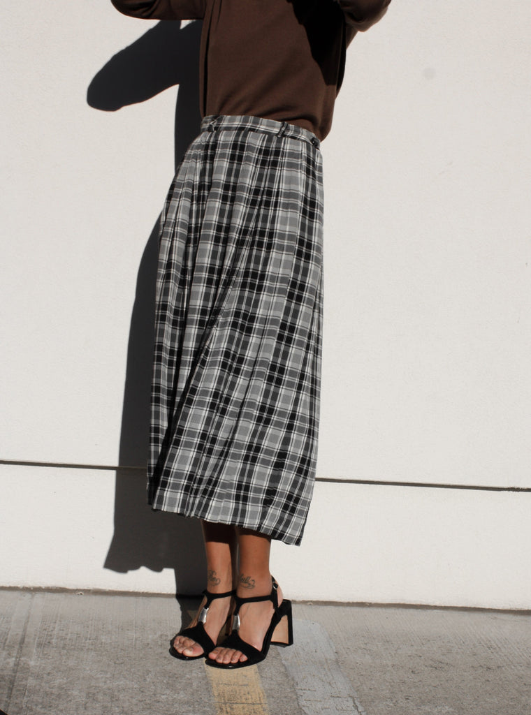 Monochrome Plaid Skirt