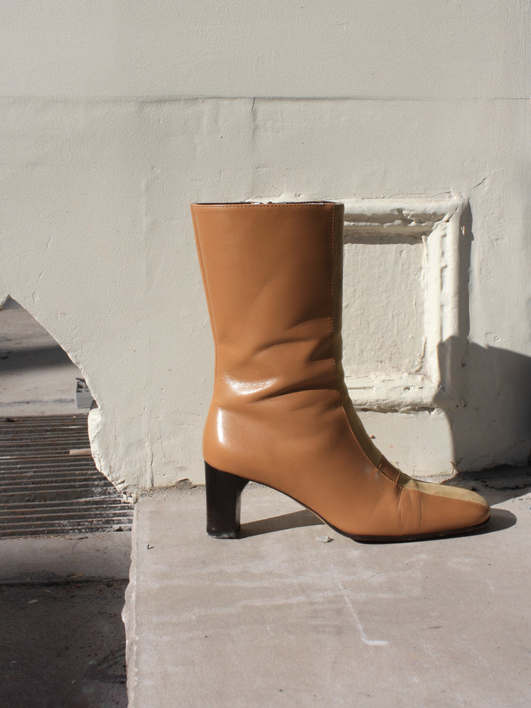 Pony Hair Paneled Boots (6.5)