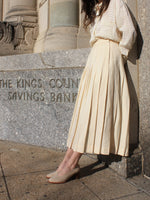 Cream Pleated Midi Skirt