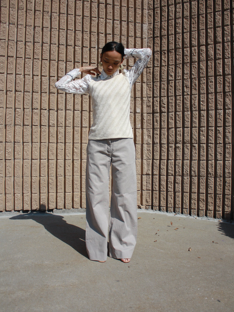 Miu Miu Wideleg Cotton Trousers