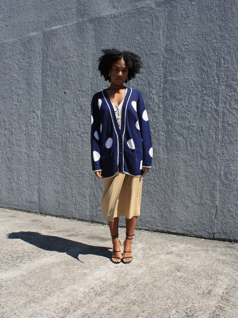 Polka Dot Cotton Cardigan