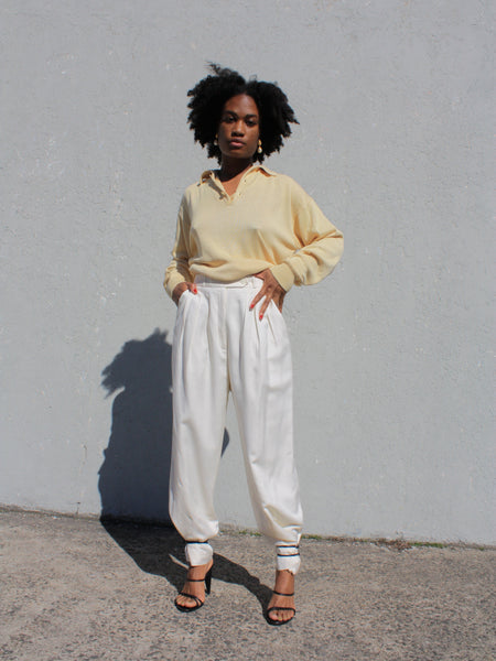Pleated White Trousers