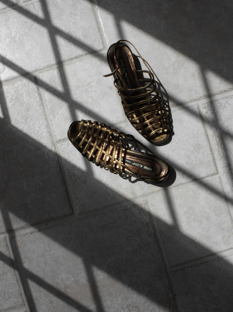 Bronze Caged Leather Sandals (6.5)