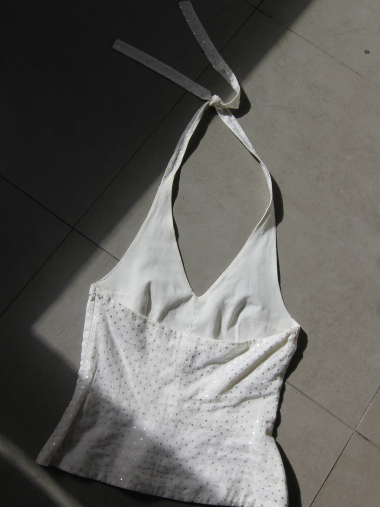 Courreges Metallic Dot Linen Halter
