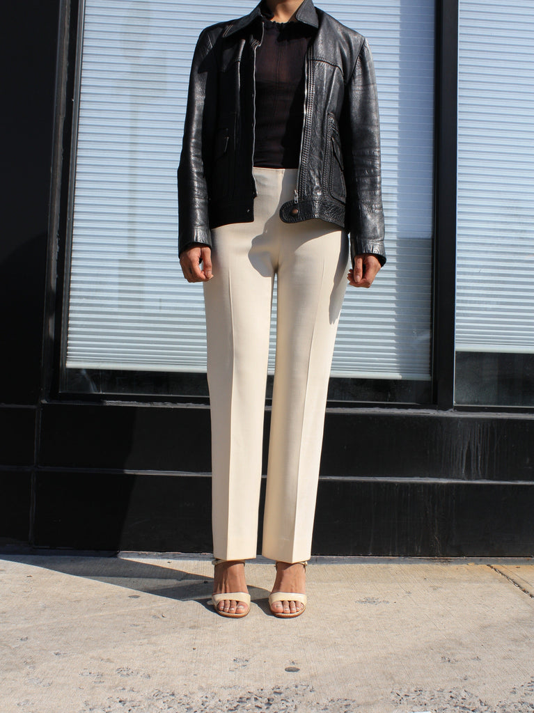 Cream Wool Cigarette Pants