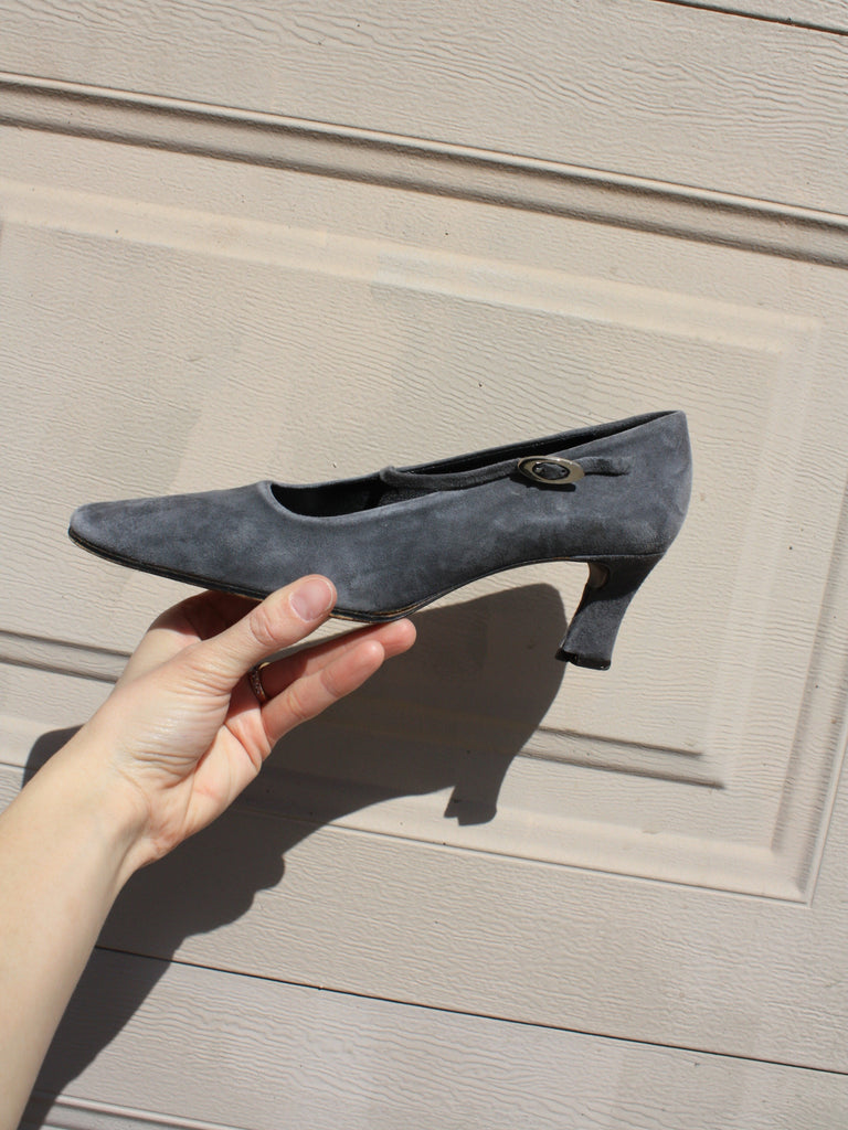 Grey Suede Mary Janes (6.5)