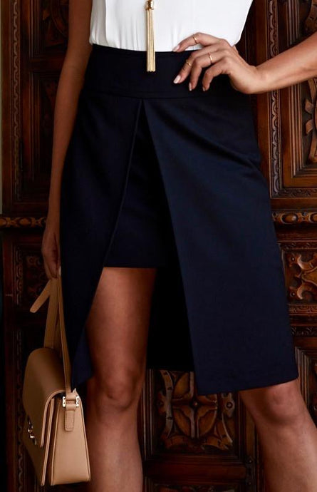 One Day In Venice Mid-Length Skirt (BLACK)