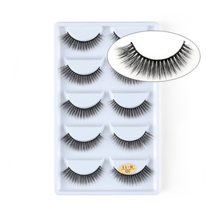 5 Pairs 3D Mink Hair Natural Cross False Eyelashes Long Messy Makeup  Fake Eye Lashes Extension Make Up Beauty Tools maquiagem