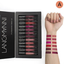 Maquiage 12pcs/lot matte Lipstick Waterproof Long-lasting Velvet lipstick set Red Tint Nude batom makeup set brand langmanni