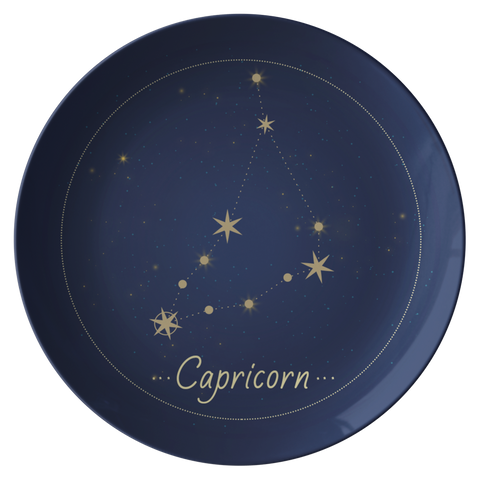 Capricorn Constellation Zodiac Astrology Night Sky Plate 10""