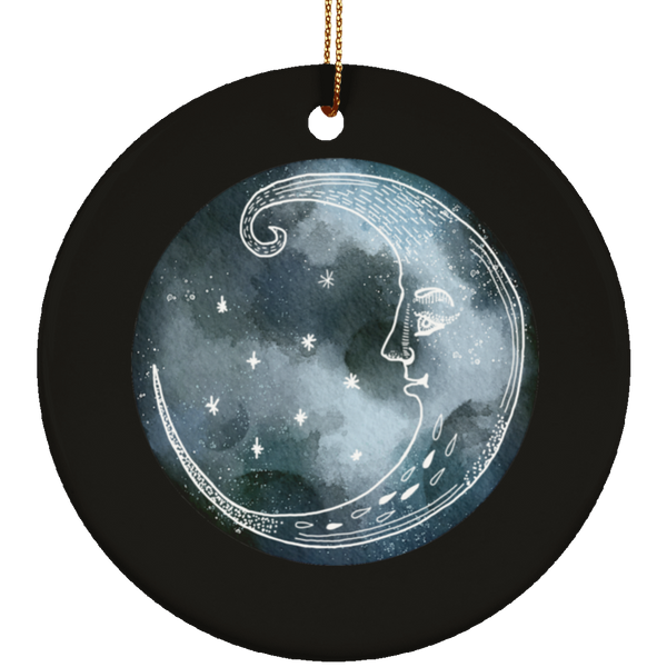 Moon and Stars Night Sky Ceramic Circle Ornament