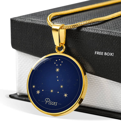 Pisces Zodiac Constellation Elegant Gold Pendant Necklace