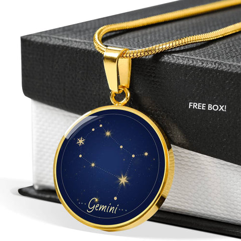 Gemini Zodiac Constellation Elegant Gold Pendant Necklace