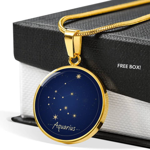 Aquarius Zodiac Constellation Elegant Gold Pendant Necklace