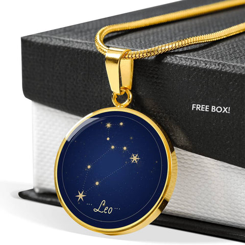 Leo Zodiac Constellation Elegant Gold Pendant Necklace