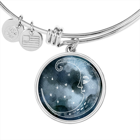 Moon and Stars Night Sky Bangle Bracelet