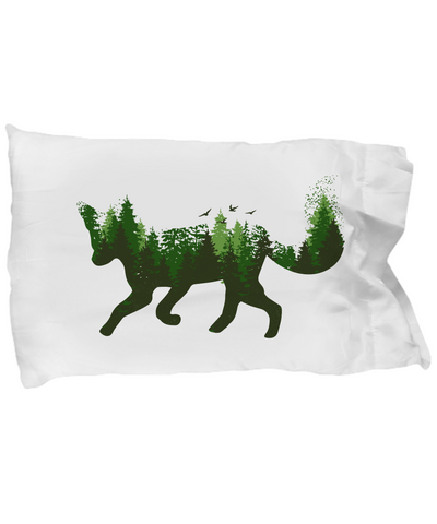 Fox Forest Trees Birds Pillowcase Gift