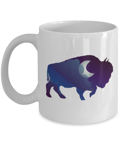 Night Sky Buffalo Bison Moon Coffee Mug Gift