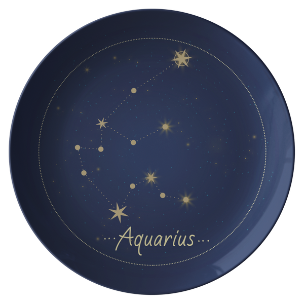Aquarius Constellation Zodiac Astrology Night Sky Plate