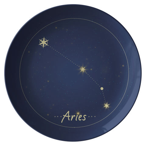 Aries Constellation Zodiac Astrology Night Sky Plate