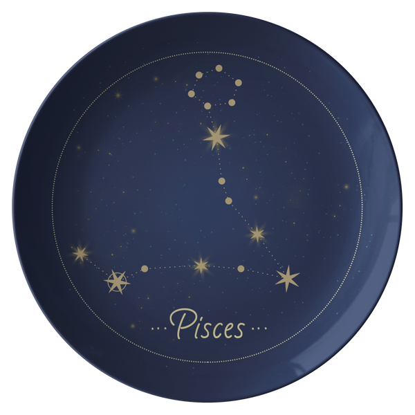 "Pisces Constellation Zodiac Astrology Night Sky 10"" Plate"