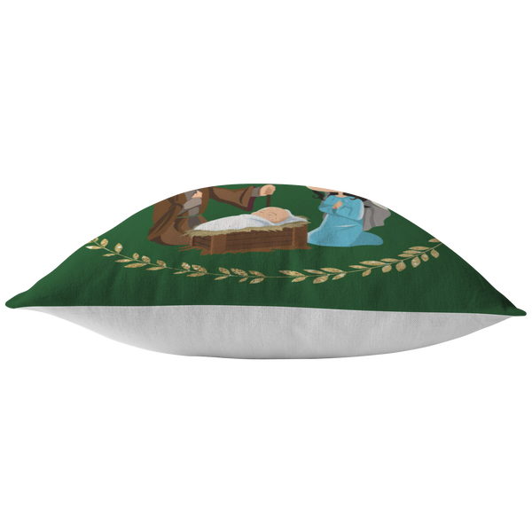 Nativity Scene with Star Green Christmas Pillow