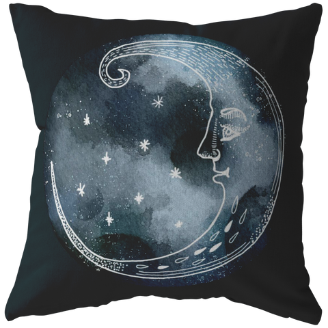Moon and Stars Night Sky Pillow