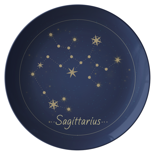 "Sagittarius Constellation Zodiac Astrology Night Sky 10"" Plate"