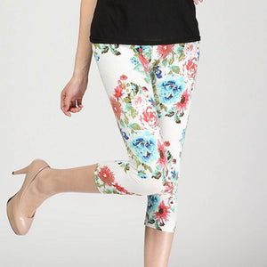 Summer  Knee Length Floral Printed Leggings for Women