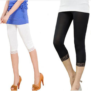 Women Summer  Elastic Lace Leggings