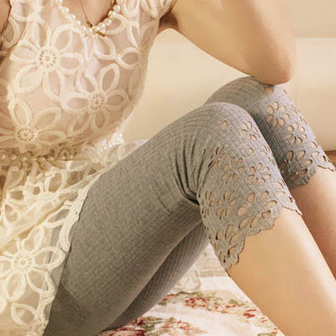 Summer Style Women Floral Leggings Hollow Out