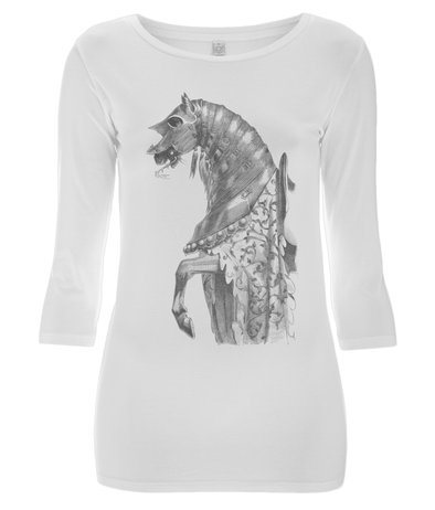 Women's 3/4 Sleeve Stretch T-Shirt Horse
