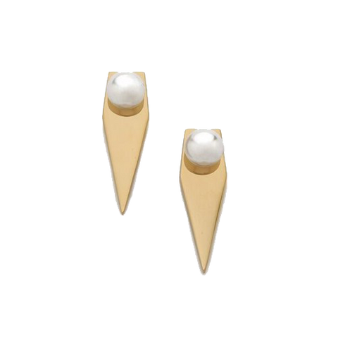 Geometric Pearl Ear Jacket